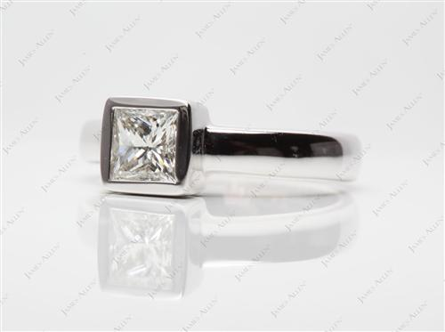 White Gold 0.70 Princess cut Diamond Rings