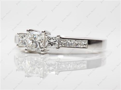 Platinum 0.56 Princess cut Three Stones Diamond Rings