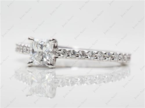 White Gold 0.62 Radiant cut Engagement Ring With Side Stones
