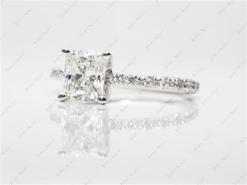 White Gold 1.31 Cushion cut Micro Pave Engagement Rings