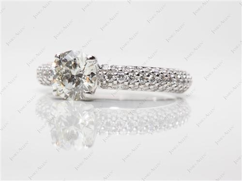 White Gold 0.82 Round cut Pave Diamond Rings