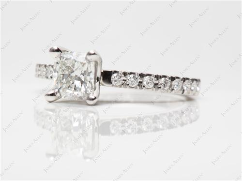 Platinum 0.91 Cushion cut Engagement Rings