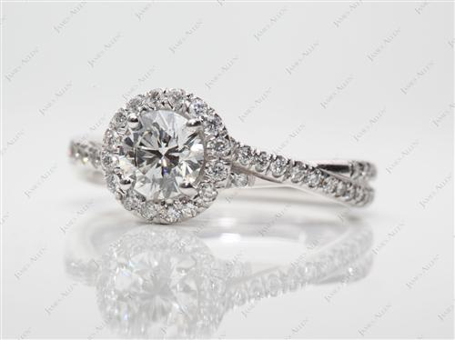 White Gold 0.60 Round cut Pave Ring Setting