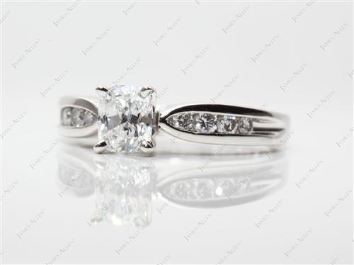 Platinum 0.90 Cushion cut Channel Set Diamonds