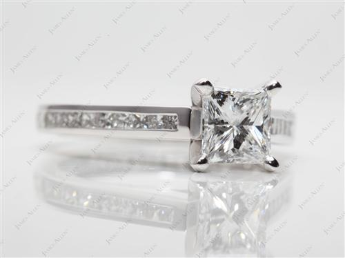 Platinum 1.05 Princess cut Channel Engagement Rings