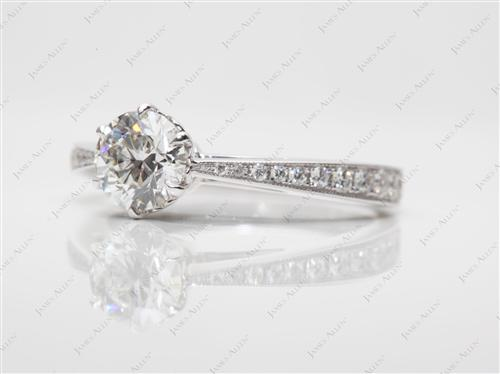 White Gold 0.71 Round cut Engagement Rings Pave