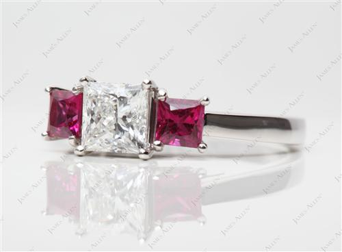 Platinum 1.06 Princess cut Ruby Engagement Ring