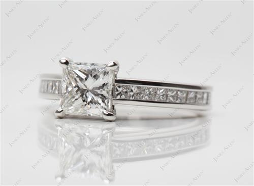 Platinum 1.12 Princess cut Channel Set Diamond Band