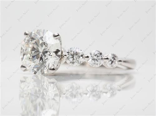 Platinum 2.06 Round cut Diamond Ring With Sidestones
