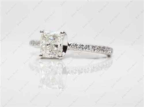 White Gold 1.01 Cushion cut Micro Pave Engagement Rings