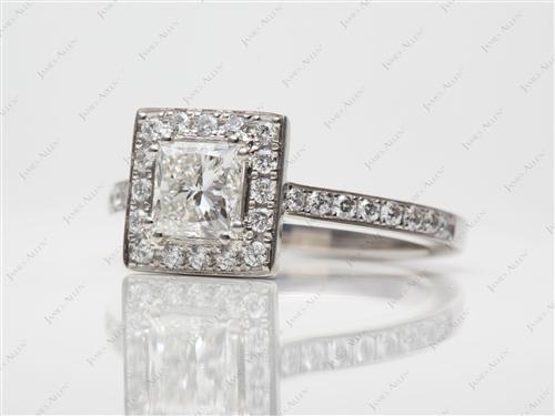 Platinum 0.81 Princess cut Micro Pave Ring
