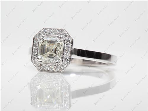 White Gold 1.16 Asscher cut Pave Ring Mountings