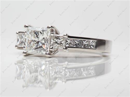 Platinum 1.04 Princess cut Three Stones Ring