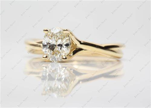 Gold 0.91 Oval cut Solitaire Engagement Rings