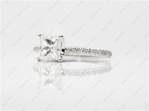 White Gold 1.01 Princess cut Pave Ring Setting