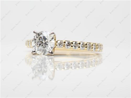 Gold 0.78 Round cut Diamond Rings
