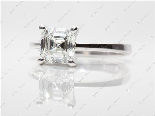 White Gold 1.53 Asscher cut Solitaire Ring Designs