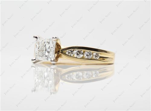 Gold 0.92 Princess cut Channel Setting Engagement Ring