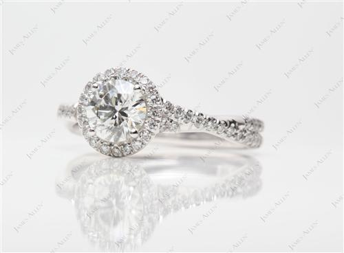 White Gold 0.72 Round cut Pave Engagement Ring