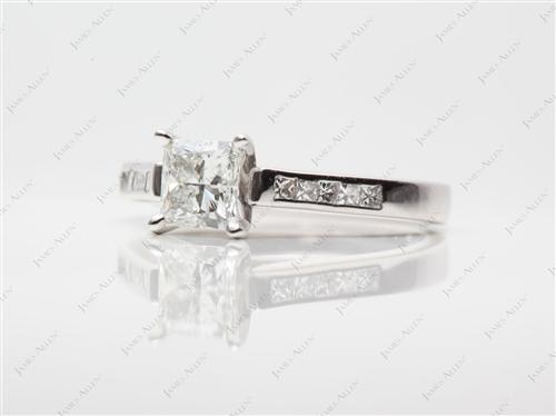 White Gold 0.71 Princess cut Channel Set Diamond Engagement Ring