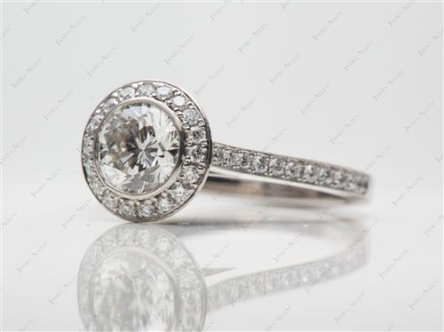 Platinum 1.08 Round cut Pave Diamond Engagement Rings