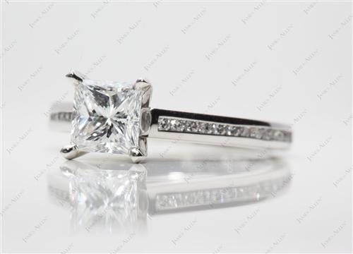 Platinum 1.15 Princess cut Channel Set Rings
