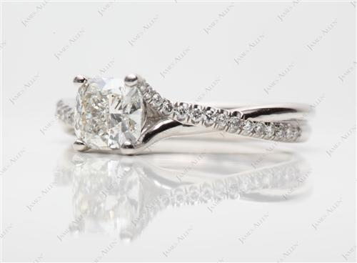 Platinum 1.01 Cushion cut Engagement Ring