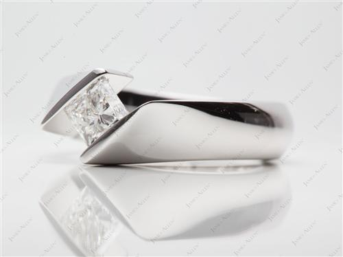 White Gold 0.77 Princess cut Tension Engagement Rings