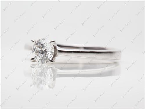 White Gold 0.44 Round cut Diamond Engagement Solitaire Rings