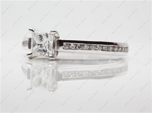 White Gold 0.57 Princess cut Channel Set Rings