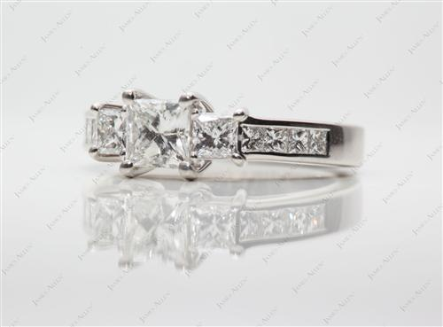 Platinum 0.54 Princess cut Three Stones Ring