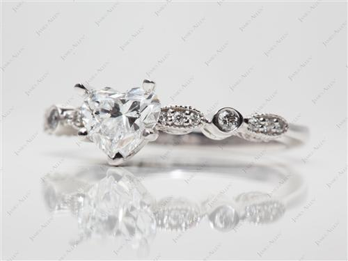White Gold 1.07 Heart shaped Engagement Rings Side Stones