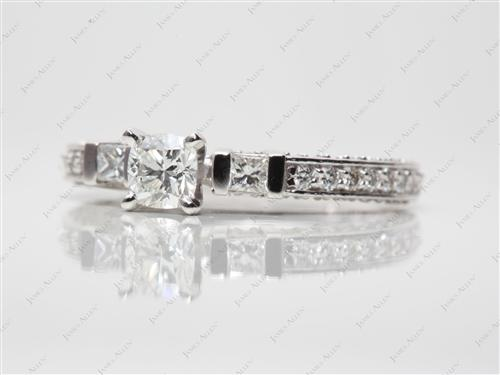 White Gold 0.41 Cushion cut Engagement Rings Pave