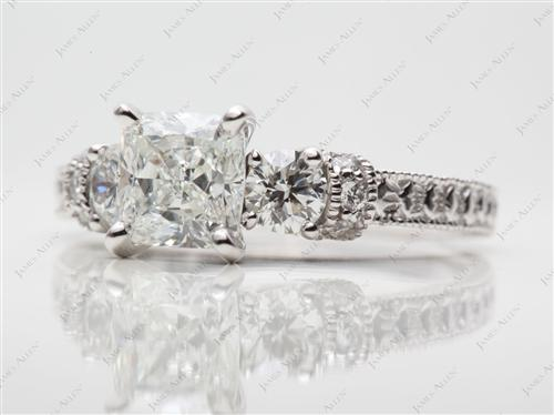 White Gold 1.51 Cushion cut Diamond Ring With Sidestones