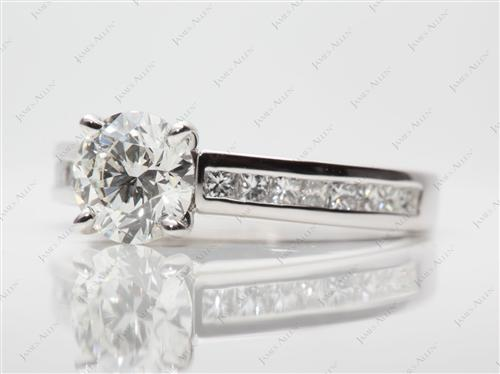 White Gold 1.24 Round cut Diamond Channel Rings