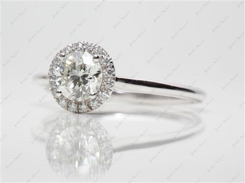 White Gold 0.73 Round cut Diamond Rings