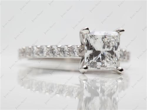 Platinum 1.52 Princess cut Diamond Ring