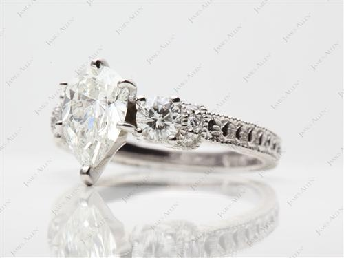 Platinum 1.50 Pear shaped Engagement Rings With Side Stones