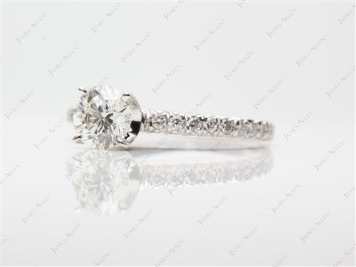 White Gold 0.60 Round cut Pave Ring Settings