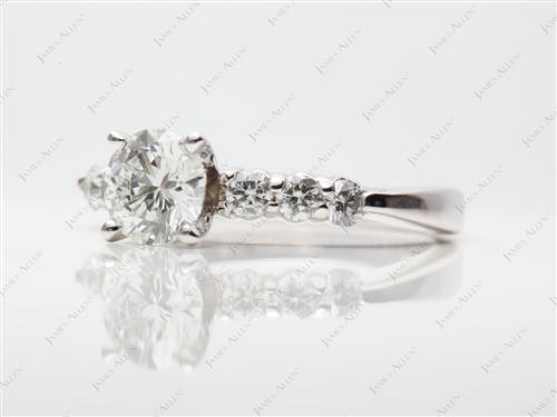 Platinum 1.00 Round cut Diamond Rings With Side Stones