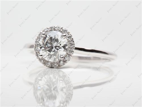 White Gold 1.03 Round cut Micro Pave Ring