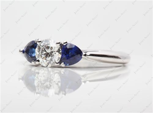 White Gold 0.60 Round cut Gemstones Ring