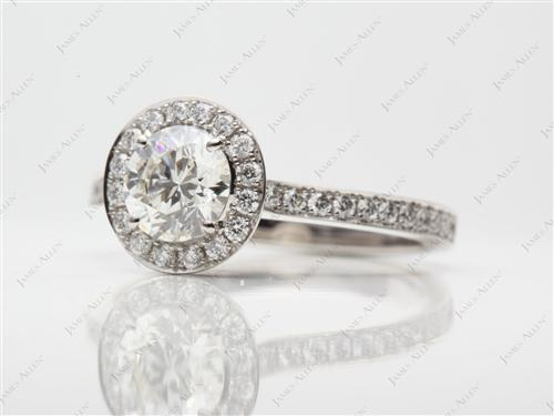 Platinum 0.90 Round cut Pave Setting Rings