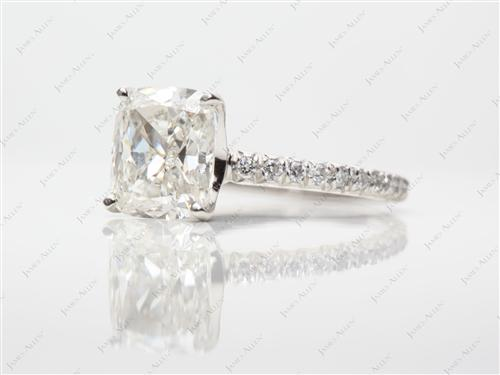 Platinum 2.57 Cushion cut Diamond Pave Rings
