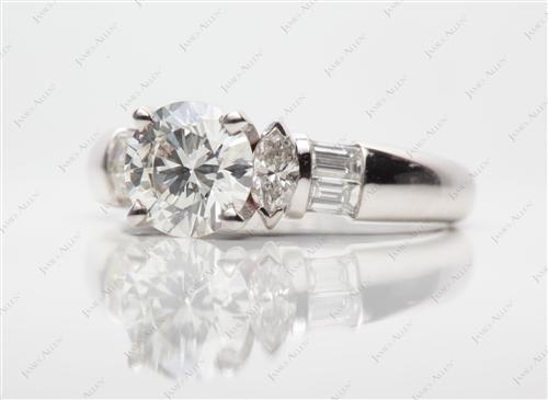 White Gold 1.27 Round cut Diamond Ring With Side Stones