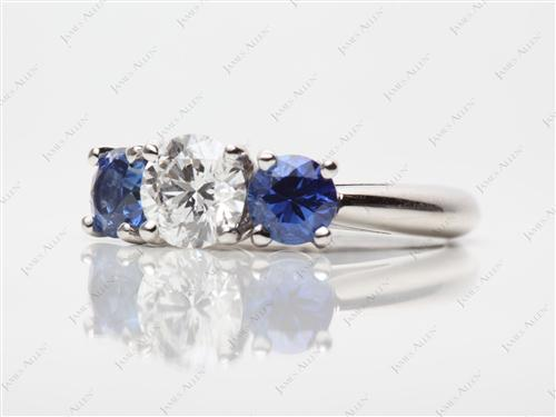 Platinum 0.70 Round cut Gem Stone Ring