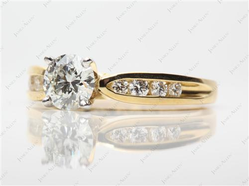 Gold 0.85 Round cut Channel Engagement Rings