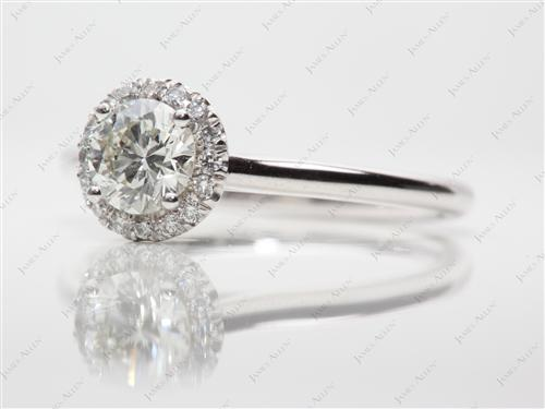 White Gold 0.58 Round cut Pave Engagement Rings