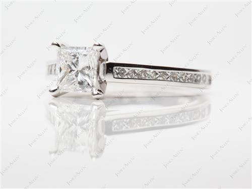 White Gold 1.03 Princess cut Channel Set Diamond Ring