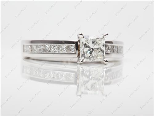 White Gold 0.78 Princess cut Channel Engagement Ring